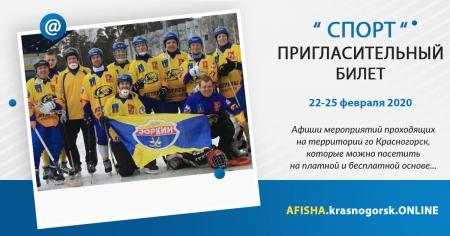 Афиши спортивных мероприятий проходящих на территории городского округа Красногорск с 22 по 25 февраля 2020 года.